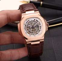 Patek philippe nautilus leather wrist watch