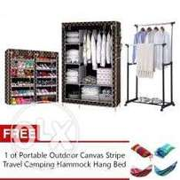 2 sided shoe rack with cover, quality wardrobe and double pole hanger