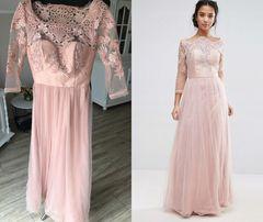 c17c1014e7 Nowa sukienka 34 XS chi chi london długa maxi pudrowy róż koronka tiul