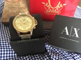 Armani Exchange Men's Chronograph All Gold-Tone Watch AX1504, Original