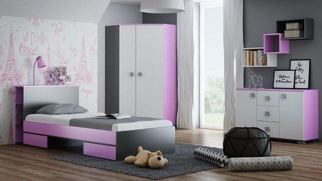 Zestaw A Pink Do Pokoju Młodzieżowego łóżko Szafa Komoda