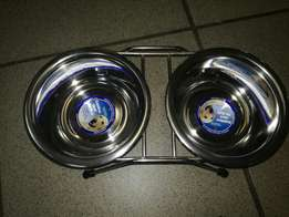 Small pet feeders with stainless steel bowls