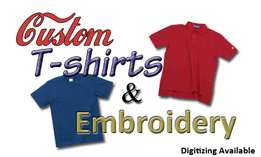 embroidery and screen printing services for shirts, T-shirts& caps