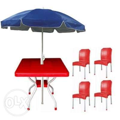 Square Table with 4 Aluminium Curved Legs Chairs Lagos - image 1