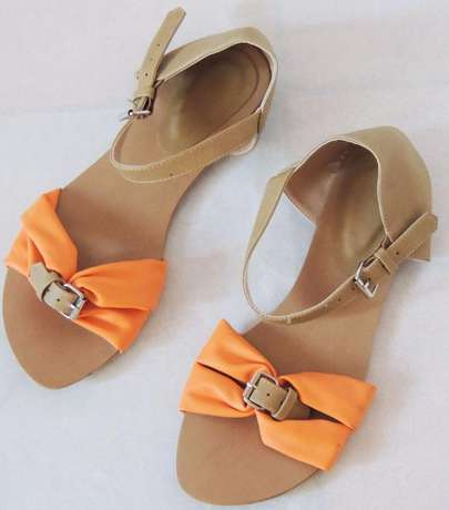 Brown - orange open flat shoes (VJ Collections) Ruaka - image 3