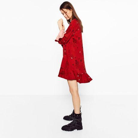 Sukienka kombinezon ZARA czerwona czerwony falbana XS 34