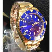 Rolex Submariner Gold Wristwatch_blue dial