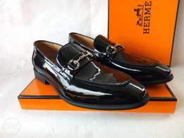 Patent leather Hermes loafers in black