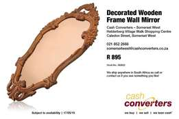Decorated Wooden Frame Wall Mirror