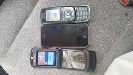 3 phones IPHONE Samsung and Motorola v3a