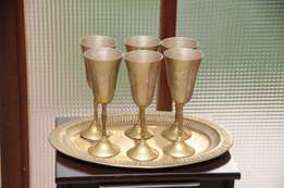 Brass tray with goblets