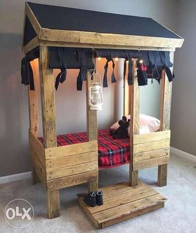 Children wood bed rustic تخت أطفال خشب