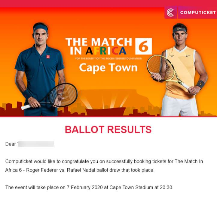 Two Tickets Federer V Nadal Cape Town Community Announcements