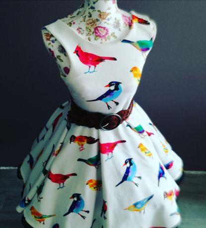 Sukienka Retro Pin Up Vintage Ptaki Ptaszki Xs S Wesele Na Co Dzień