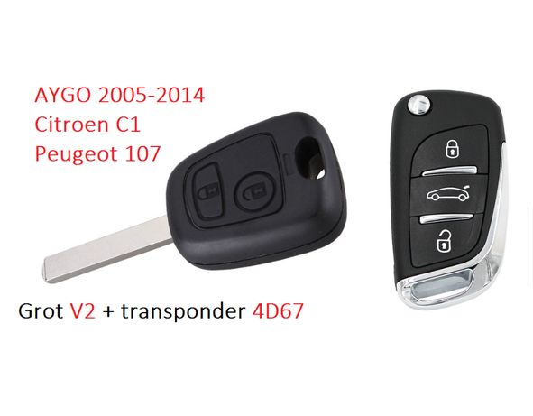 Wspaniały Kluczyk Toyota Aygo , Peugeot 107 , Citroen C1 Nowy kodowanie XV42