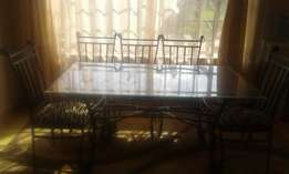 Unique Glass/Steel Table Dining Set
