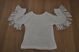 zara żakardowy sweter z frędzlami blog paulinye