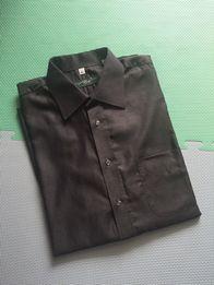 91474e3873070a Koszula męska, długi rękaw, stalowa w drobny print, rozm. L