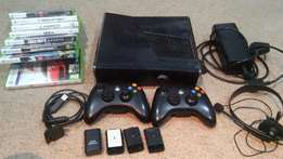 Xbox 360 250gb with 2 Controllers with over 50 games