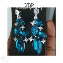 Blue and teal green earrings