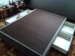 Double Bed Base With Storage Drawers