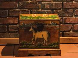 Antique Wooden Toy Box with Hoarse painting