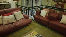 Brand new wine red leather couch set