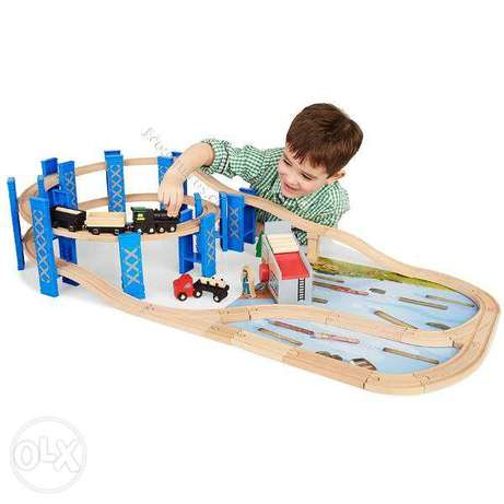 Imaginarium express timber log spiral wood train set toy