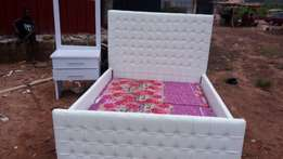 6x6ft white and soft padded bed with bedside drawer and room dresser