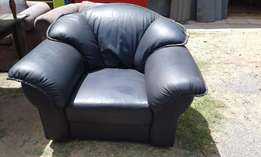 Black Leather Uppers 1 Seater Couch
