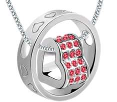 Pink Crystal Charm Pendant Necklace