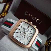 Gucci white stripe leather watch