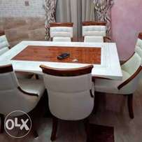 Marble dinning table with 6 solid chairs