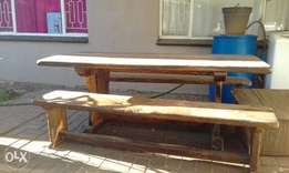 Solid wood table with benches. Grate condition.