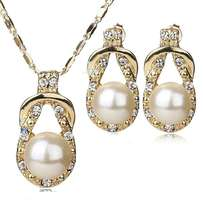 24k Gold Plated, Pearl Simulated Jewelry Set For Women