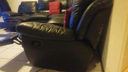 L shaped black touch leather lazy boy lounge suite to swop
