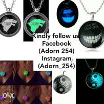 Glow in the dark necklaces and pendants.