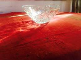 Thick cut Glass Fruit Bowl with leaf motif - beautiful
