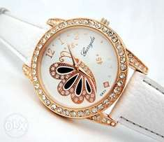 Cute Butterfly Ladies Watch-White