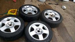 Audi 5 hole 16 inch full set rims and tyres