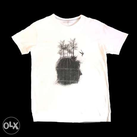 Free Mind Print White Cotton T-Shirt