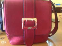 red sructured ladies hand bag for sale