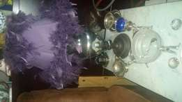 Large Silver lamp and purple feathered shade