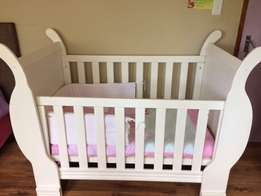White Sleigh Cot and Accessories