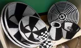 Collection of black/white bowls and lampshades