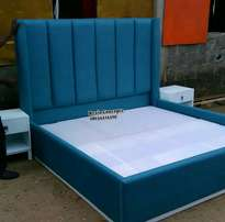 Blue Master bed with headboard