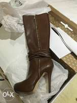 Call It Spring Leather Boots Brown