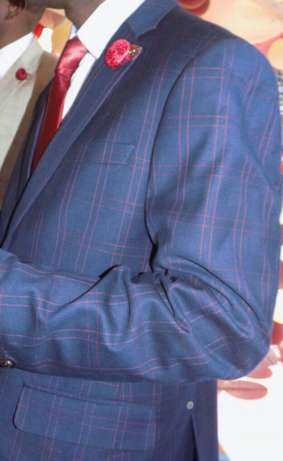 Navy Blue Checked suits for men. Smoothly polished wool. FREE DELIVERY Nairobi CBD - image 1