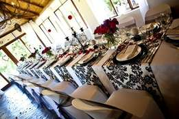 Wedding Décor Hire – linen, vases, crockery, cutlery, tables, chairs