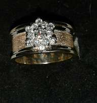 9CT Yellow and White Gold Diamond Cluster Ring.